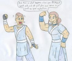 Flexing Katara and Sokka by Jose-Ramiro