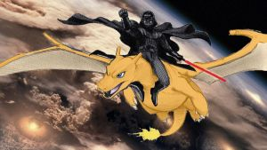 Darth Vader riding Charizard (Colored) by Smithaboy