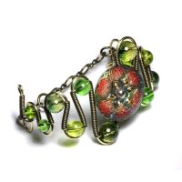 steampunk bracelet green by CatherinetteRings