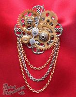 Steampunk Clockwork Brooch by ArtOfAdornment