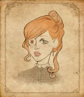 Framed one-eyed red haired lady by Oh-Ninona