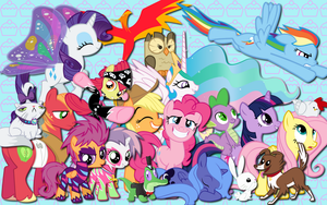 Main ponies and friends WP by AliceHumanSacrifice0