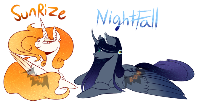 MLP NEXT gen sun and moon by Eve-Of-Halloween