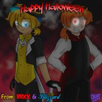Halloween with the Vocaloid and Vampire by Sweatshirtmaster