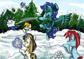 Snowball fight by GaelleDragons