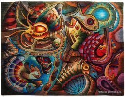Hand-woven Tapestry: Yacumama - The Water Goddess by Maximo-Laura