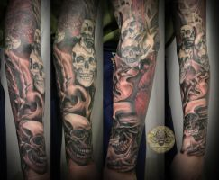 Heart Skull Armsleeve prog.12 by 2Face-Tattoo