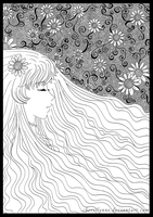 Sunflower Girl - Lineart by CielCiella