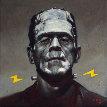 Frankenstein (Electro), 12 x 12 inches, Oil on Can by Duncanmattocks