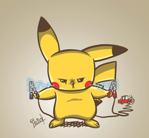 Pikachu charging by Italiux