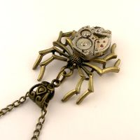 Mechanical Spider Steampunk Necklace/Pendant Watch by SteamSect