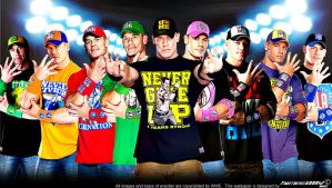 WWE John Cena Multi-Color Wallpaper Widescreen V3 by Timetravel6000v2