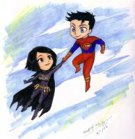 Batgirl and Superboy by d00li