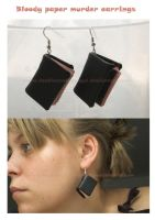 bloody paper murder earrings by SongThread