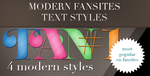 4 modern fansites text style by FashionVictim89