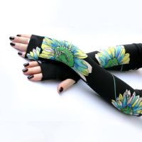 Long black fingerless gloves with large flowers by WearMeUp