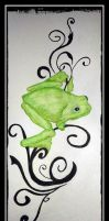 Tattoo design of tree frog on vine. 2 by Purple-Dragonfly-Art