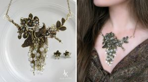 Floral cascade necklace and studs Waterfall garden by JSjewelry