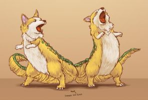 Tyrannasaurus Corgis by Blueberry-Cat