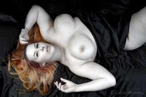 On the bed with Freyja by larrybradbyphoto