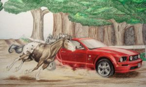 .:Colored Pencil-Horsepower:. by PeaBlueJr
