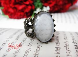Big vintage ring with letter cabochon by Benia1991