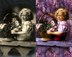 Picking flowers - Before and after by byMiri