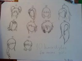 10 Anime Girl Hairstyles by GreenLoverGirl