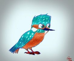 Gift and new OC: Marcin the kingfisher by CarrieShells