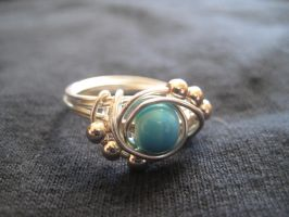 Beaded Solitare Ring by shellsandsoccer