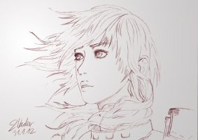 Final Fantasy XIII-2 - Lightning Pencil Drawing by clanto