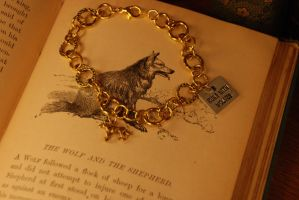I Run with Wolves - Gold Bracelet by kittykat01