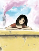 Girl leaning on a wall by blob1