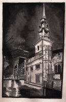 Building at night sketch by KennySwanston