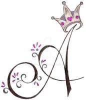 A Initial with Princess Crown Tattoo by Metacharis