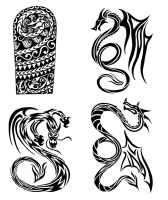 Tribal Dragons tattoo designs by thehoundofulster