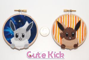 Eevee Tiny Hoops by cutekick