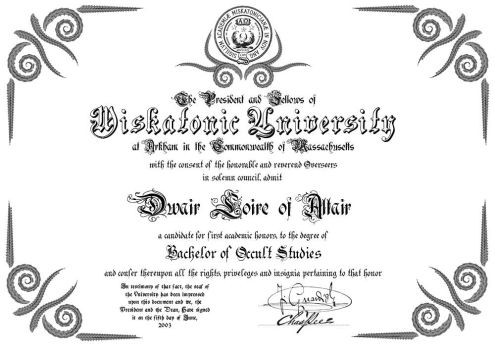 Miskatonic University Diploma by Dwair