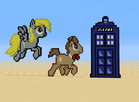 Derpy, the Doctor, and his TARDIS by Bellep53