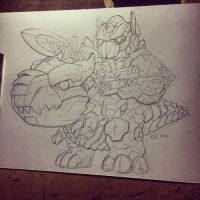 Pencil AOE Optimus and Grimlock by KevinRaganit
