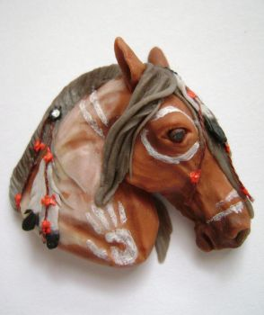 OOAK American Indian Painted Horse  - polymer clay by TessaWorkshop