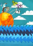 peach and birds- deadpuppets by childrensillustrator