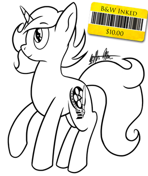 OC Black and White Commission Example (with Price) by Knadow-the-Hechidna