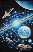 Eath type planet and galaxy by CORinAZONe