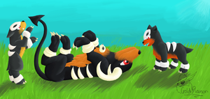 A Houndoom and two Houndour by GoldFlareon