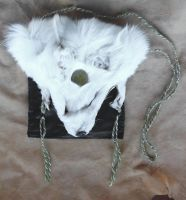 White Fox Face Pouch by lupagreenwolf
