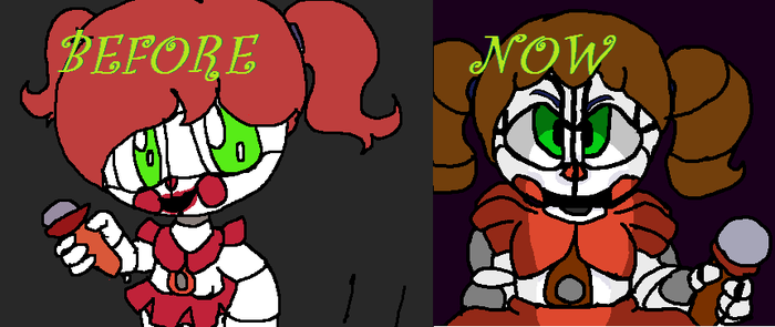 Sister Location Circus Baby Before and Now by crazyart13