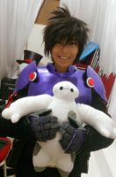 Hiro Hamada with little Baymax by Echow88