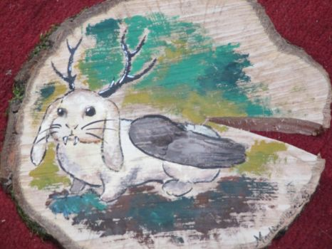 Wolpertinger wood painting by Alpacalligraphy