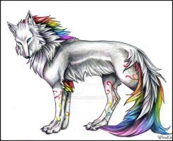 Rainbow Wolf by WhiteK9